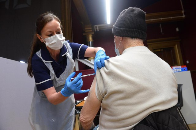 A coronavirus vaccination is given at Hartlepool Town Hall Theatre.