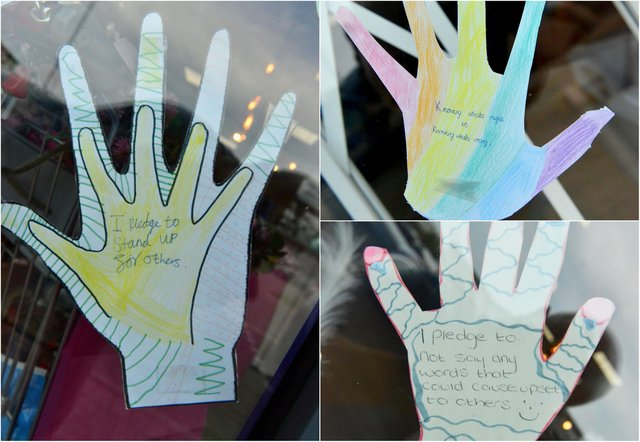 Some of the messages displayed on the salon's window.