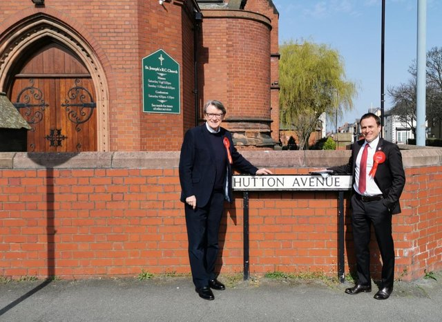 Ex Hartlepool MP Lord Peter Madelson, left, with Labour by-election candidate Dr Paul Williams during campaigning in the town.