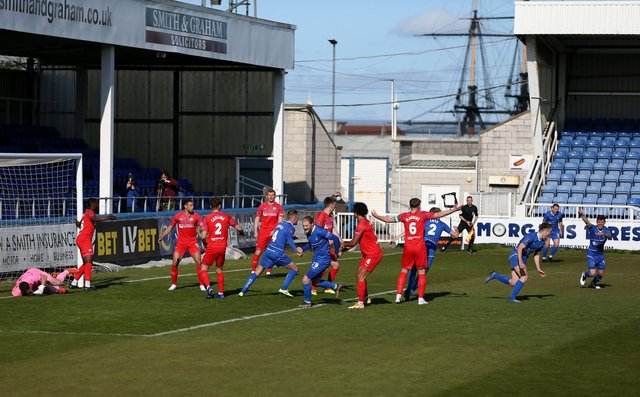 Rhys Oates of Hartlepool United puts his side 1-0 up during the Vanarama National League match between Hartlepool United and Chesterfield at Victoria Park, Hartlepool on Saturday 1st May 2021. (Credit: Chris Booth   MI News)