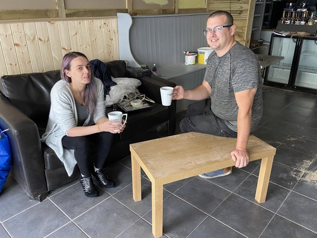 Trevor Sherwood and Angela Arnold who run LilyAnne's Coffee Bar in Victoria Road. Picture by FRANK REID