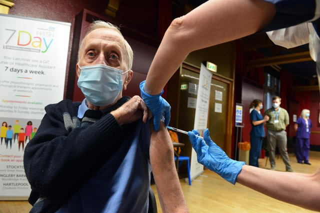 Covis vaccinations roll out at Hartlepool Town Hall Theatre. Patient Edward Daurge.