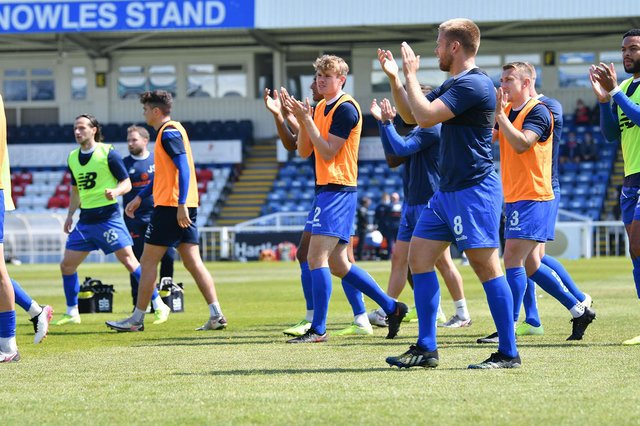 Hartlepool United players applaud their fans. Hartlepool United FC 4-0 Weymouth FC 29-05-2021. Picture by FRANK REID
