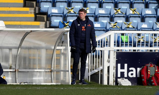 Hartlepool United manager Dave Challinor during the Vanarama National League match between Hartlepool United and Notts County at Victoria Park, Hartlepool on Saturday 10th April 2021. (Credit: Chris Booth   MI News)
