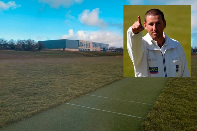 The new artificial pitch at High Tunstall College of Science named after umpire Michael Gough (inset).