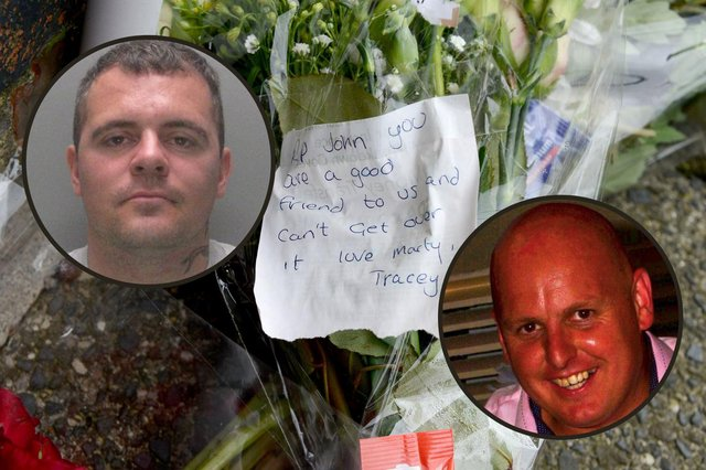 Marty Bates, left, has been sentenced for the murder of his friend John Littlewood. He and his partner, who was cleared of the same charge, left flowers in tribute to their pal as news spread of his tragic death.
