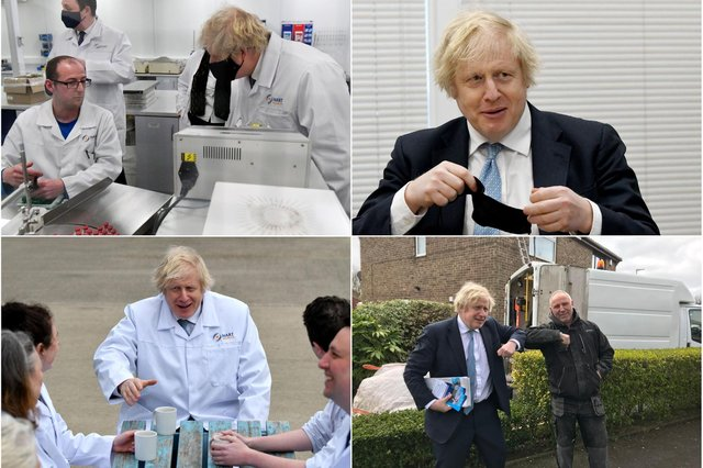 Four pictures from Prime Minister Boris Johnson's visit to Hartlepool on April 1.