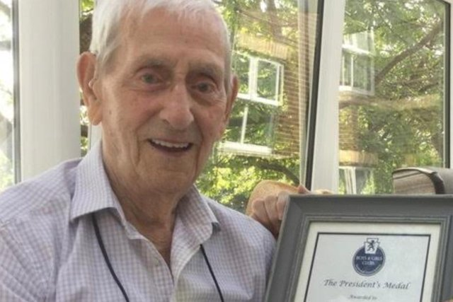 Alf Walsh, pictured with his Presidents' Medal from the Durham Association of Boys and Girls Clubs.