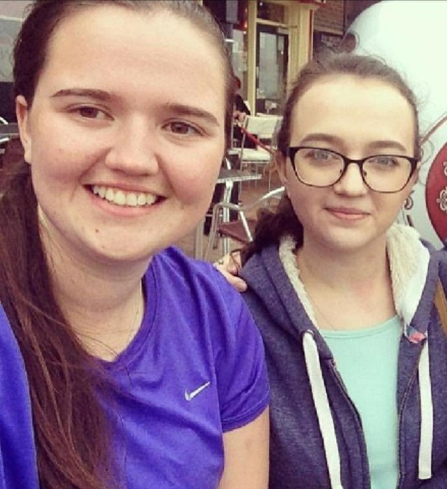 From left, Natalie and Fiona Connolly before lockdown last year.