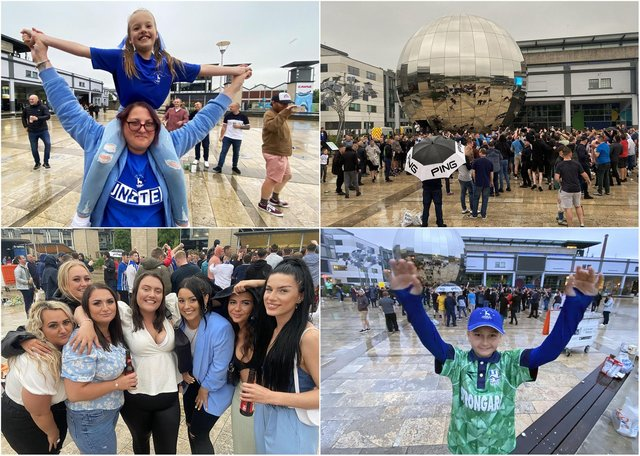 Just some of the Hartlepool United fans who congregated in Bristol's Millennium Square ahead of the club's play-off clash with Torquay United.