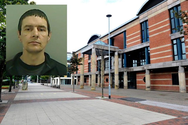 Alan Metcalfe (inset) was jailed for three years for burglary at Teesside Crown Court.