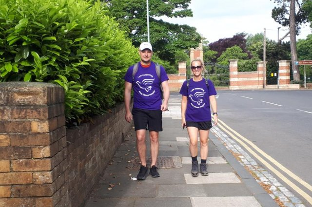 Jack Ryan (left) set off early on June 18 on the walk and was joined on the first leg to Darlington by good friend Charley Ferguson.