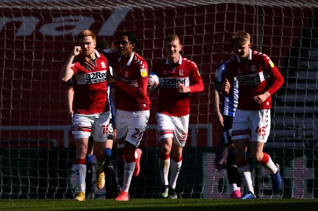 Duncan Watmore of Middlesbrough celebrates after scoring their team's third goal against Sheffield Wednesday.