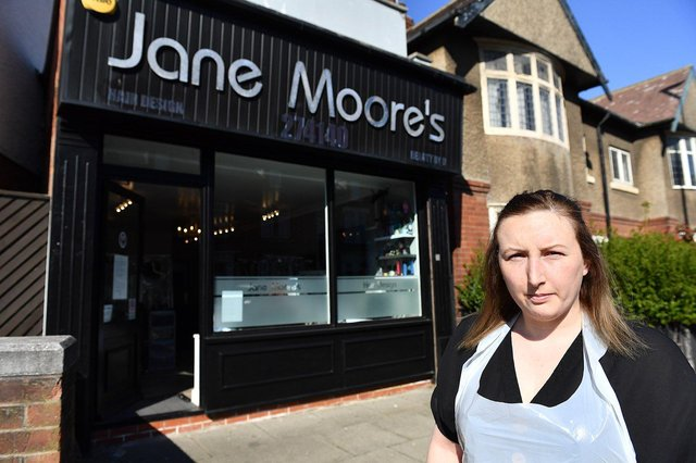 Gemma Moore outside her mother's salon in Stockton Road, Hartlepool