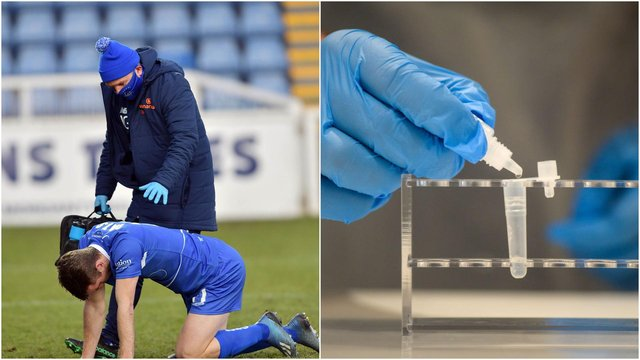 Hartlepool United physio Ian 'Buster' Gallagher (pictured), hands out coronavirus tests to all players and staff twice a week.