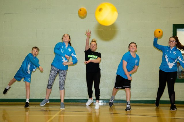 Any Tinkler takes part in a dodgeball session with Hartlepool Mavericks for Made By Sport.