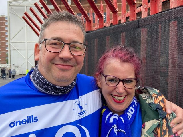 Russ Hoggart and partner Lisa Green outside Ashton Gate stadium where they decided to get engaged.