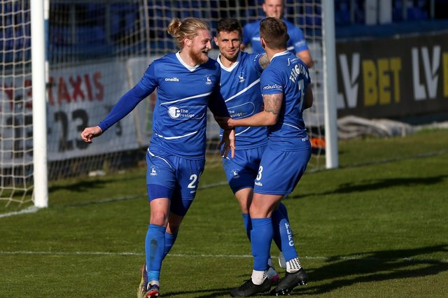 Luke Armstrong of Hartlepool United celebrates after putting his team 3-0 up during the Vanarama National League match between Hartlepool United and Chesterfield at Victoria Park, Hartlepool on Saturday 1st May 2021. (Credit: Chris Booth | MI News)