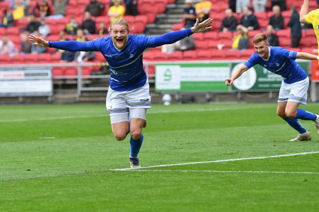 Luke Armstrong celebrates his goal for Hartlepool United against Torquay United.