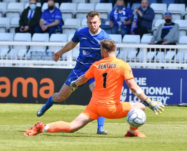 Rhys Oates scores against Weymouth (photo: Frank Reid)