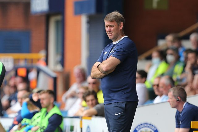 Hartlepool manager, Dave Challinor   during the Vanarama National League match between Stockport County and Hartlepool United at the Edgeley Park Stadium, Stockport on Sunday 13th June 2021. (Credit: Mark Fletcher | MI News)