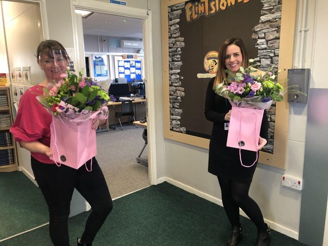 Staff received flowers as a thank you for their 'brilliant' efforts.