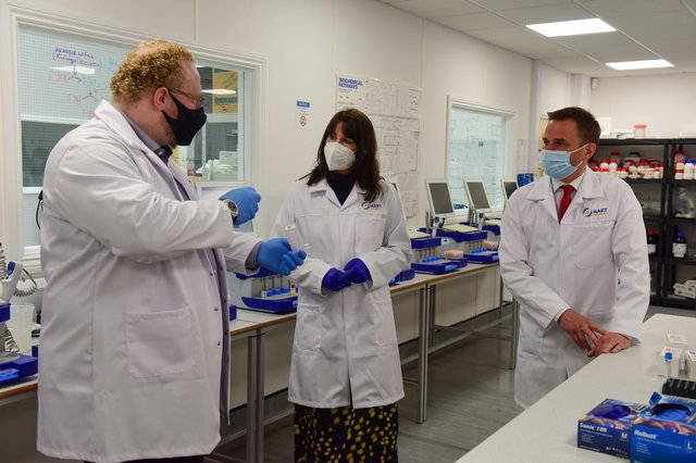 Hart Biologicals managing director Alex Ebinger, left, with Labour Shadow Chancellor Rachel Reeves and Hartlepool by-election candidate Dr Paul Williams during their Tuesday visit.