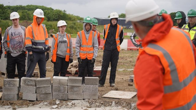 John Cartwright with some of the bricklaying students at Hartlepool College