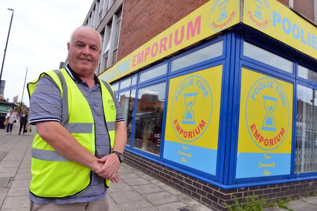 Poolie Time Emporium manger Dave Hunter outside the new community shop on Victoria Road.