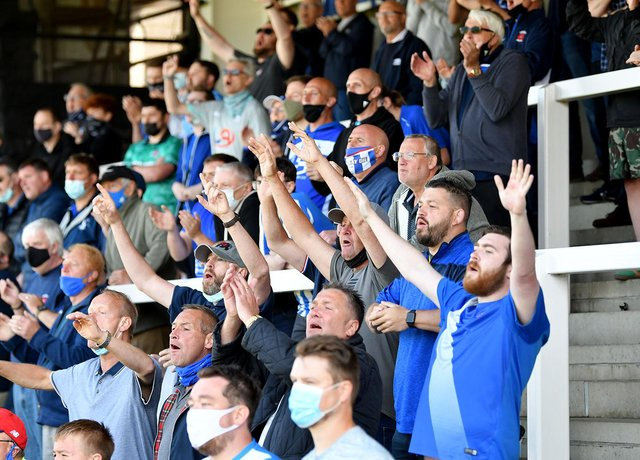 Hartlepool United supporters celebrate during the National League play-off win against Bromley (photo: Frank Reid).