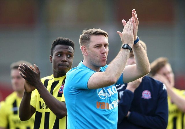 Dave Challinor while in charge of AFC Fylde during their promotion final season. (Photo by Jan Kruger/Getty Images)