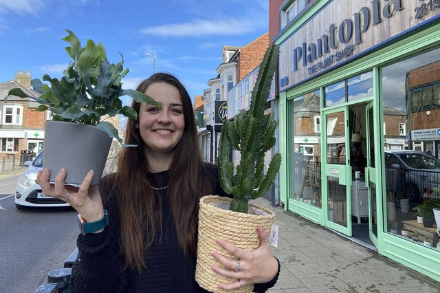 Emily Vaughan outside of Plantopia's new shop on York Road, Hartlepool. Picture by Frank Reid