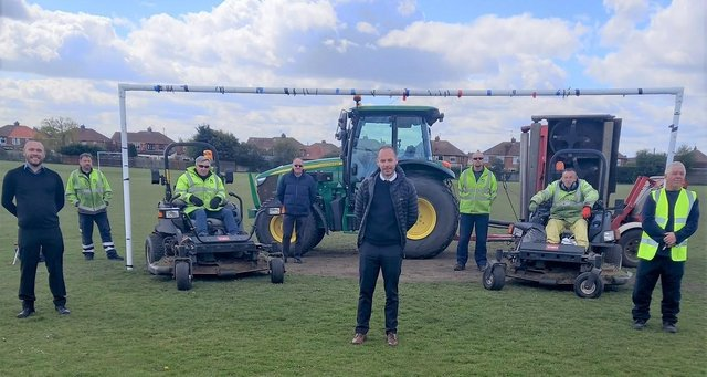 Grounds maintenance and leisure, recreation and participation staff at Hartlepool's Rift House Rec.