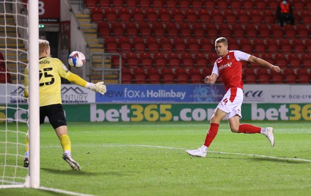 Michael Smith playing for Rotherham United.