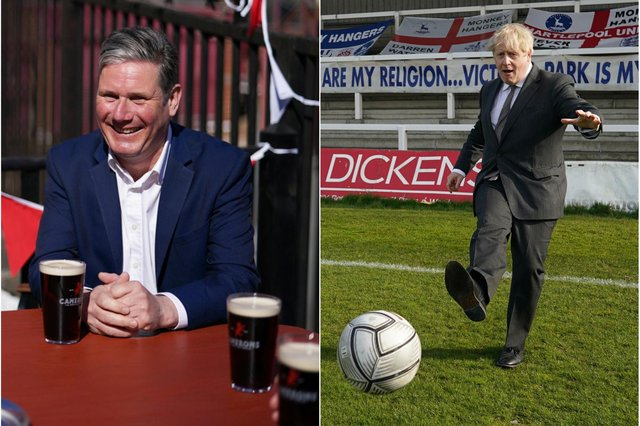 Labour leader Sir Keir Starmer, left, and Prime Minister Boris Johnson during recent visits to Hartlepool.