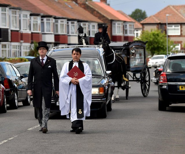 Benjamin Catchpole's cortege makes its way from his home. Picture by FRANK REID