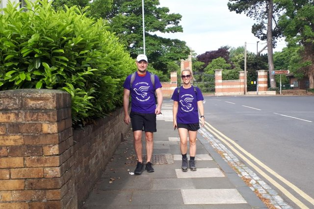 Jack Ryan and friend Charley Ferguson setting off on the walk to Liverpool in aid of Alice House Hospice.