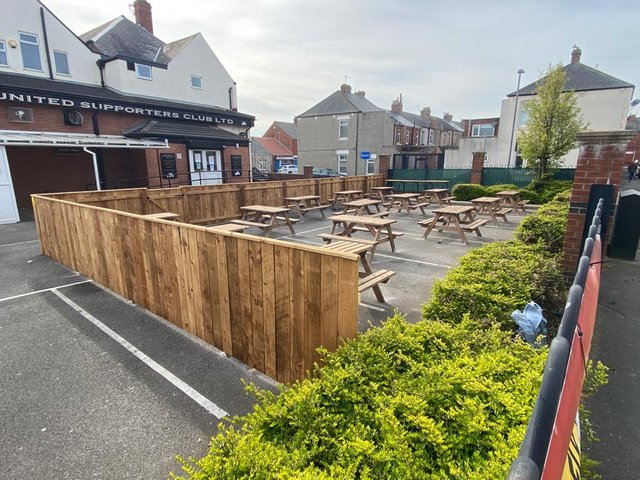 The beer garden in the car park at Hartlepool United Supporters Club. Picture by Frank Reid