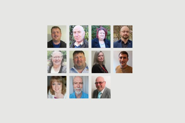 Left to right, the Rossmere candidates who submitted photos to us. Top row, Antony Baker, Moss Boddy, Julie Clayton and Tom Feeney. Middle row, Lynne Gillam, Graham Harrison, Jill Herring and Scott Kenny. Front, Vivienne Neville, Tony Richardson and Billy Yull.