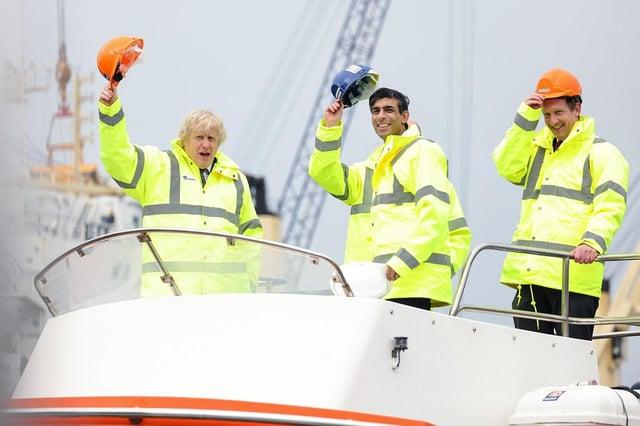 Prime Minister Boris Johnson, Chancellor Rishi Sunak, and PD Ports' CEO Frans Calje.