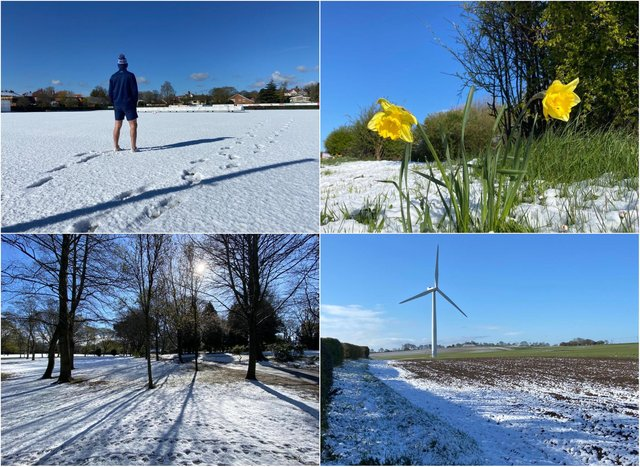 Snow in Hartlepool on Sunday, April 11.