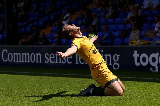 Rhys Oates of Hartlepool United celebrates after scoring his team's first goal during the Vanarama National League Play-Off Semi Final match between Stockport County and Hartlepool at Edgeley Park on June 13, 2021 in Stockport, England. (Photo by Charlotte Tattersall/Getty Images)