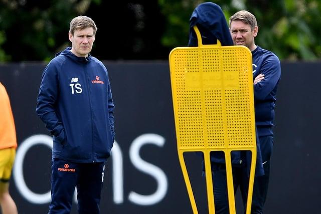 Hartlepool United coach Antony Sweeney alongside manager Dave Challinor (photo: Frank Reid)