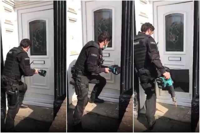 A video shared by Cleveland Police shows one of its officers breaking their way through a door of a house in Grange Road, Hartlepool, using a saw as they then carried out a search for drugs.