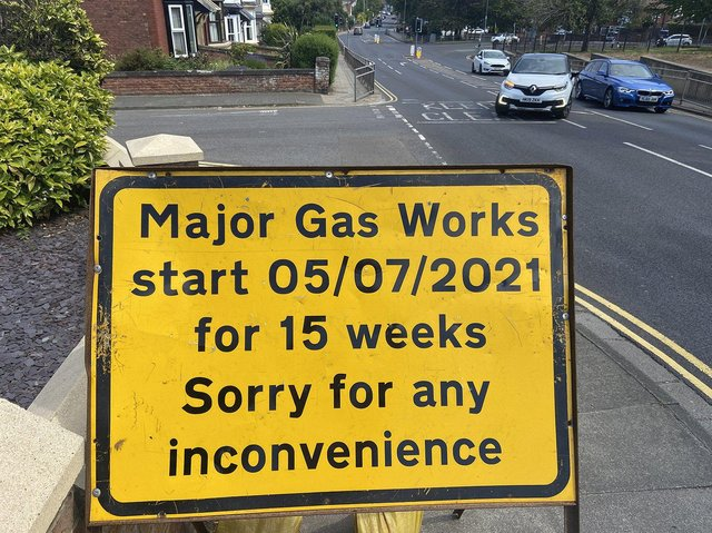 Signs warning of advanced gas works in Hart Lane. Picture by FRANK REID