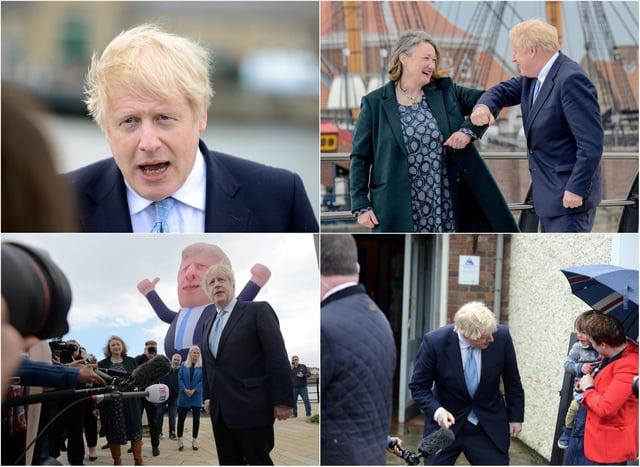 Prime Minister Boris Johnson visits Hartlepool following a Conservative win.