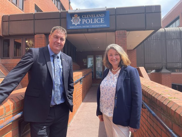 From left, Cleveland Police and Crime Commissioner Steve Turner and Hartlepool MP Jill Mortimer at Hartlepool Police Station.