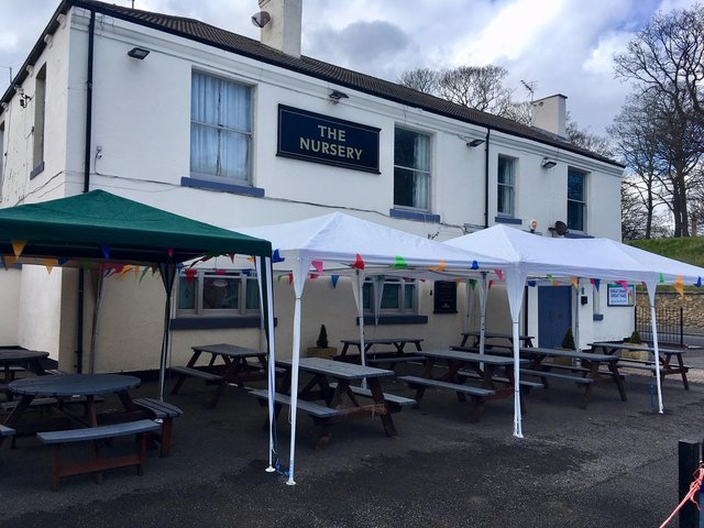 The new outdoor seating area at The Nursery Inn in Hopps Street ahead of pubs being able to serve outside from Monday, April 12.