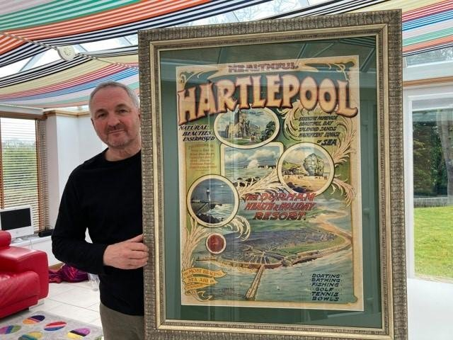Stephen Close with the second 115-year-old Healthful Hartlepool poster which has sold for £800 in an auction.