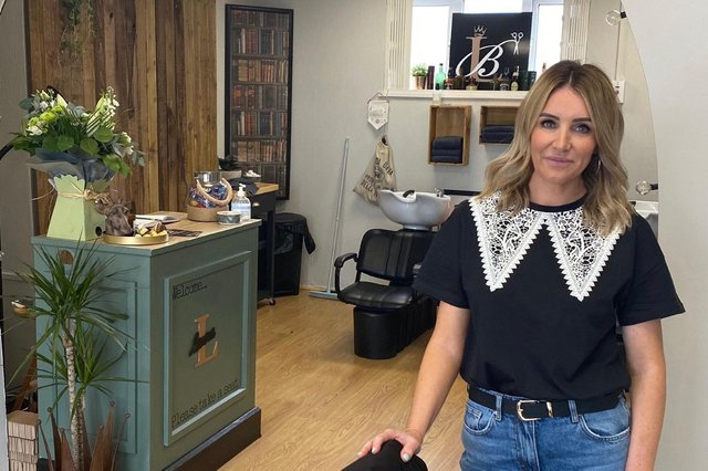 Laura Byers inside her new barbers at 212a York Road, Hartlepool.